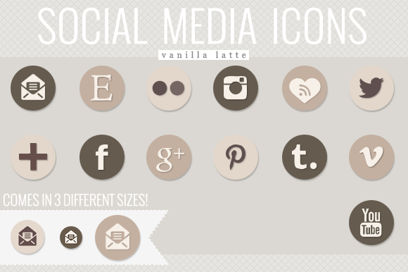 Social Media Icons Vanilla Latte