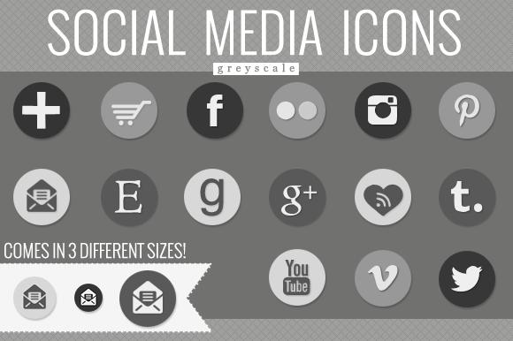 Social Media Icons Greyscale