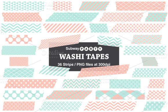 Mint And Coral Washi Tape Strips