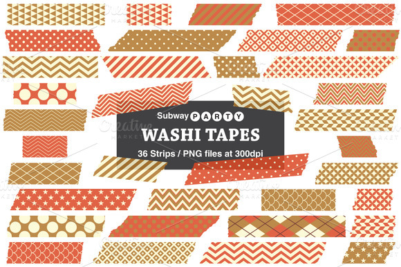 Gold Orange Washi Tape Strips