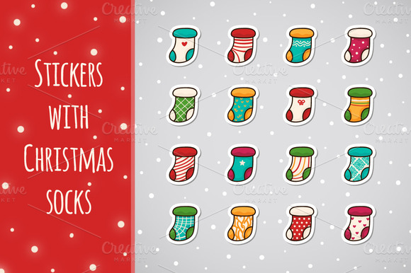 Stickers With Christmas Socks