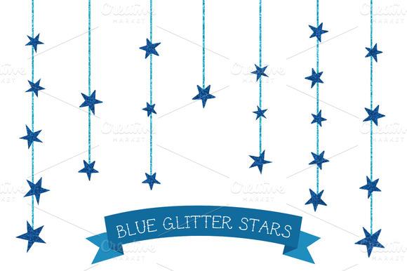 Dangling Blue Glitter Stars