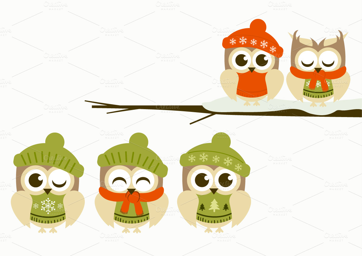 Winter Owls Clipart ~ Illustrations on Creative Market