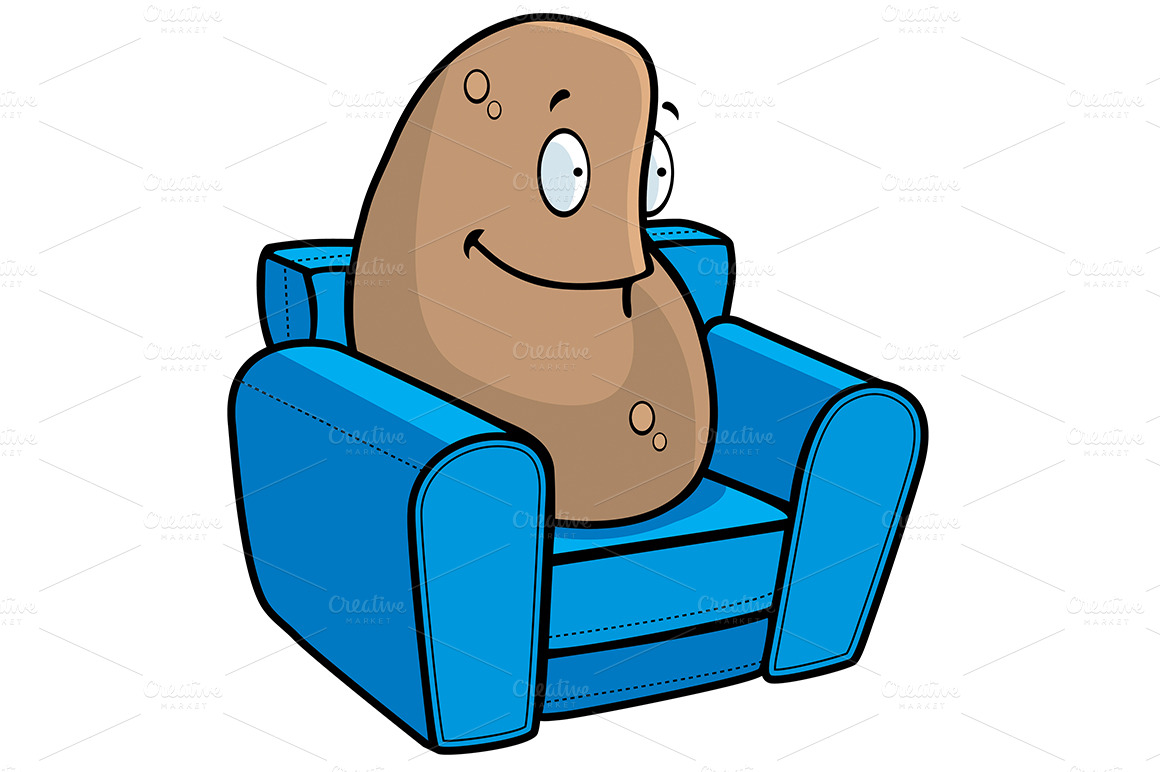 couch potato illustrations on creative market. Black Bedroom Furniture Sets. Home Design Ideas