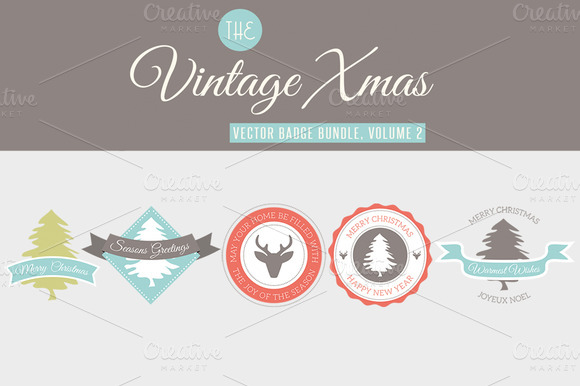 5 Vintage Christmas Badges Vol 2