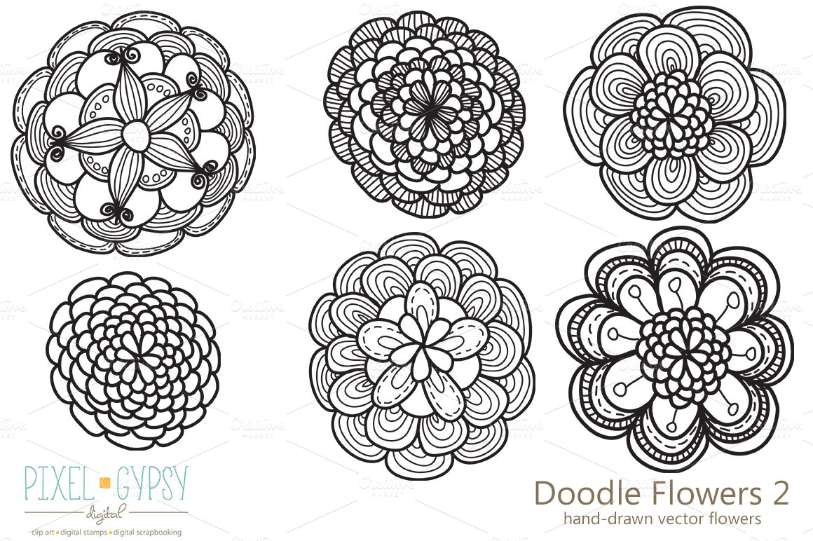 Doodle Flowers 2 Vector ~ Illustrations on Creative Market