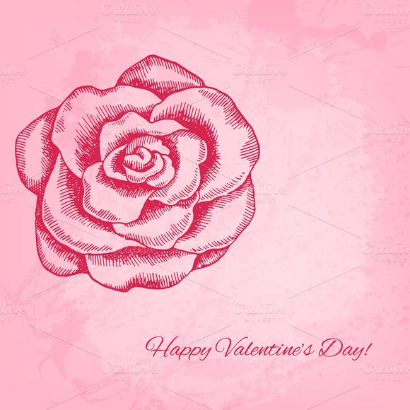 Ink Style Rose Valentine Card