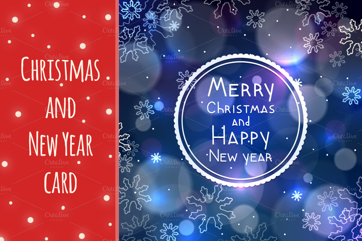 Christmas and New year greeting card ~ Card Templates on ...