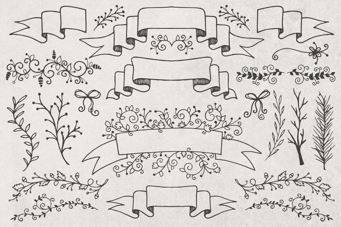 Hand Drawn Banners, Branches, Leaves ~ Illustrations on