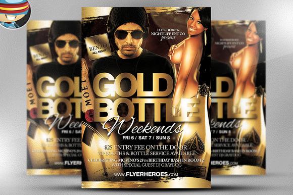 Gold Bottle Flyer Template
