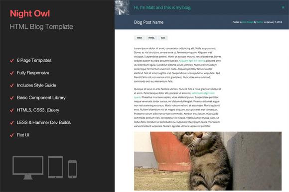 Night Owl HTML Blog Template