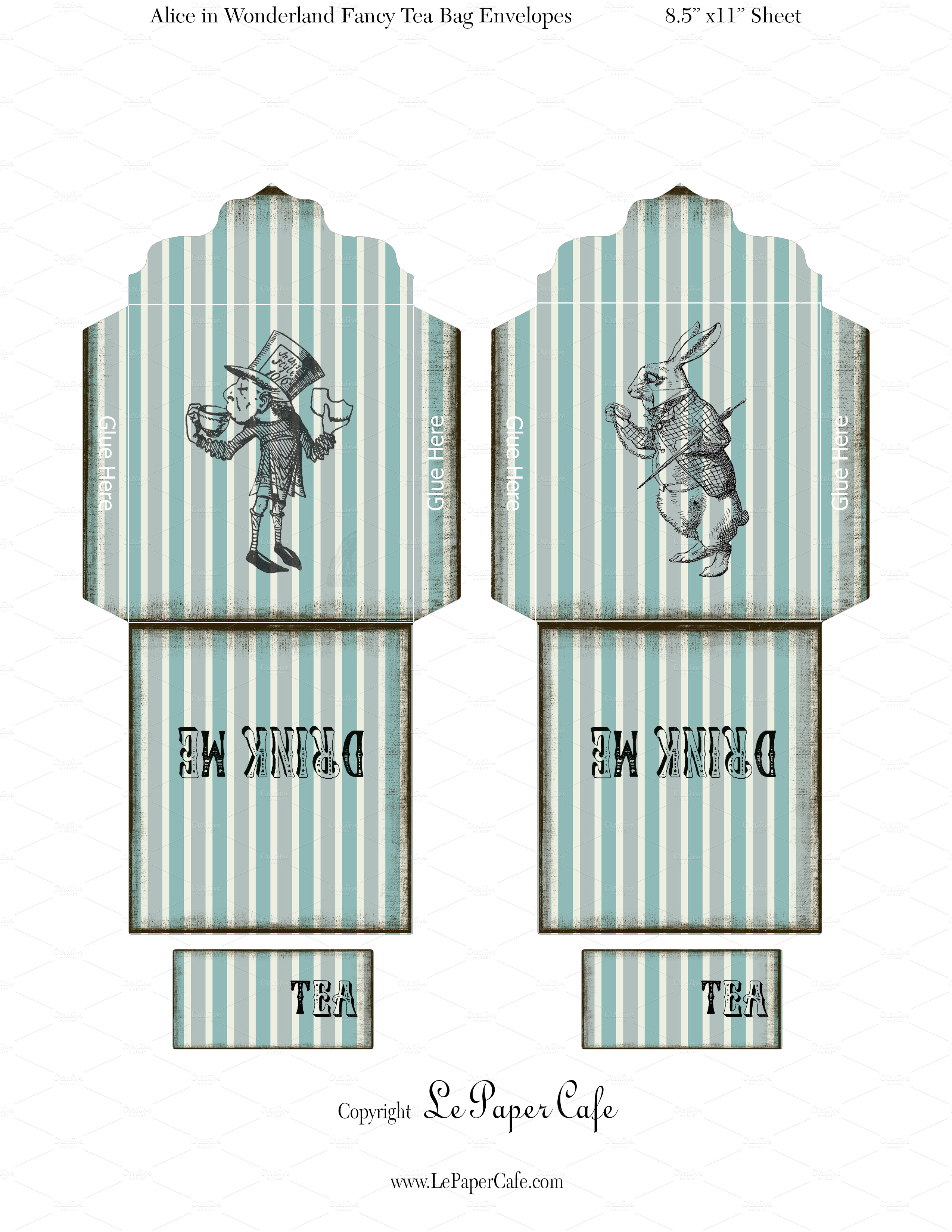 alice in wonderland tags template - alice in wonderland tea bags objects on creative market