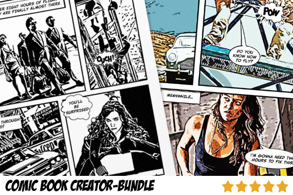 Comic book creator bundle actions on creative market for Comic book page template psd