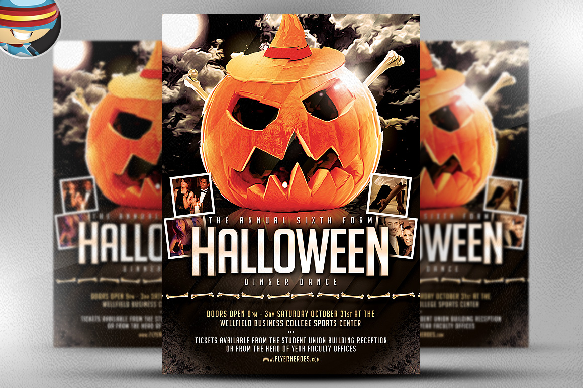 halloween party flyer template flyer templates on creative market. Black Bedroom Furniture Sets. Home Design Ideas