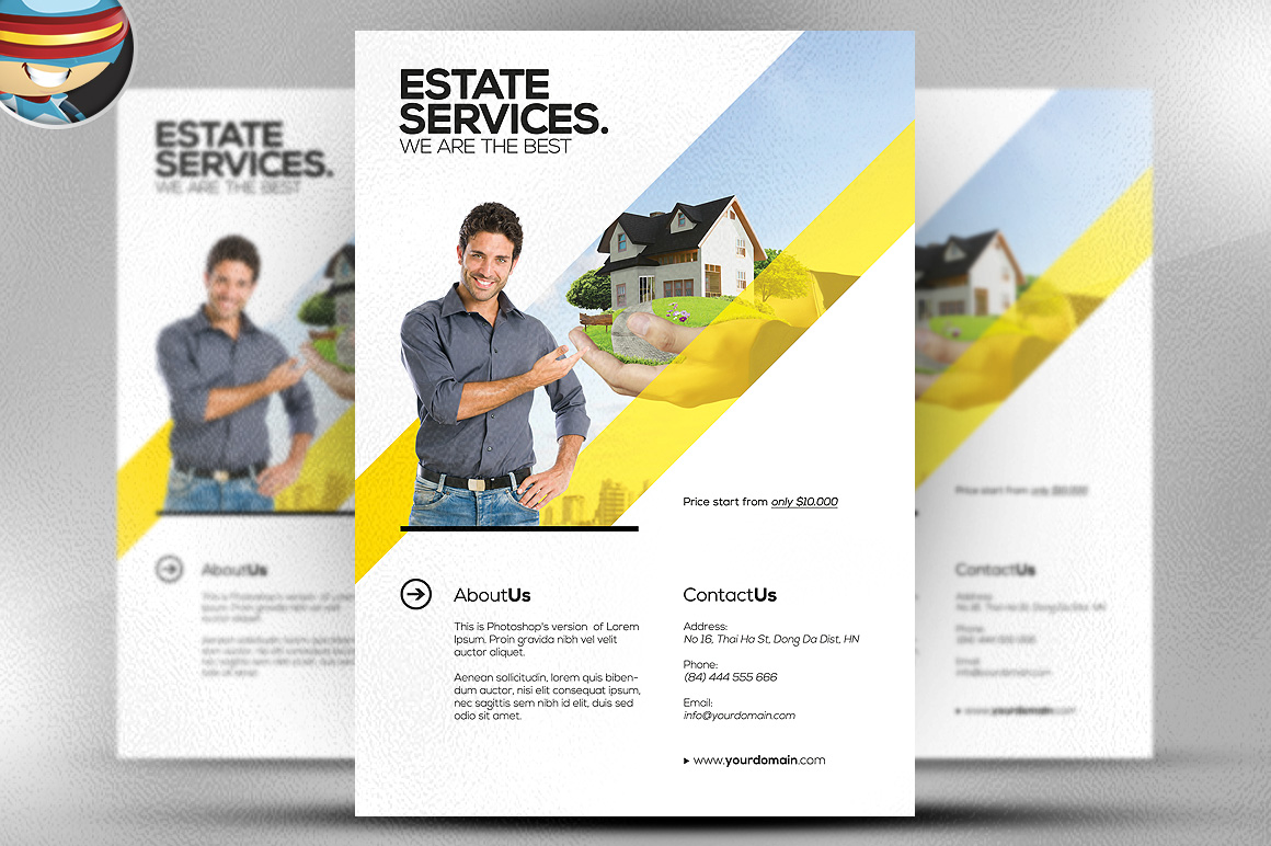 Realtor flyer template flyer templates on creative market for Free templates for brochures and flyers