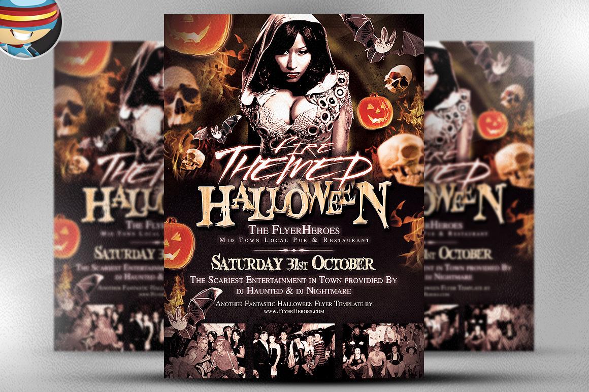 fire themed halloween flyer template