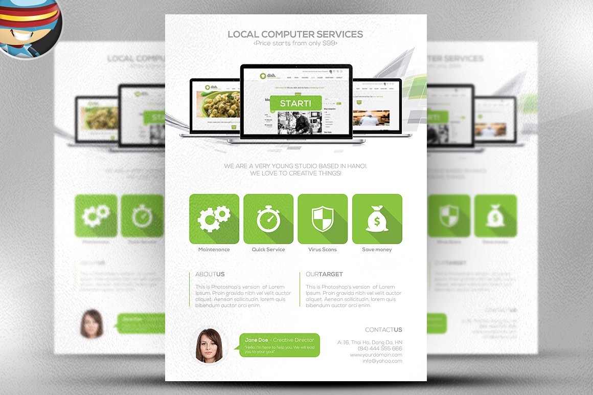 Flat style computer services flyer flyer templates on for It services brochure template