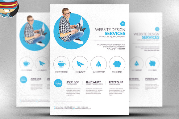 Minimal web design flyer template flyer templates on for Product design services