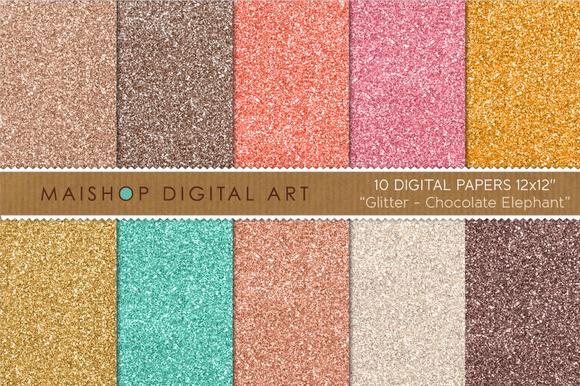 Digital Paper-Glitter-Chocolate... - Textures