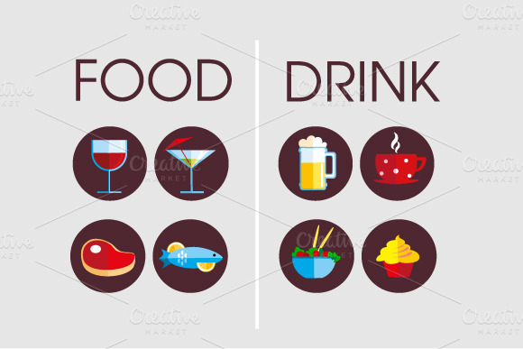 Drink and Food icons ~ Icons on Creative Market