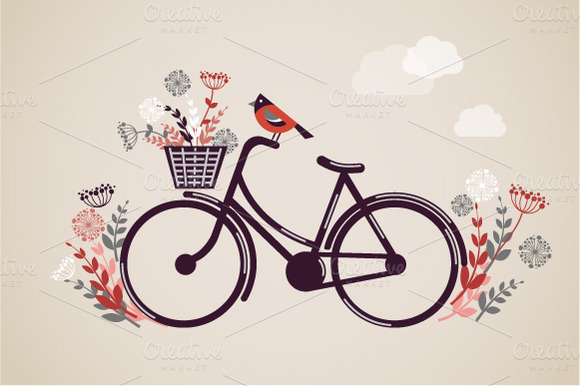 Bicycle illustration retro - photo#1