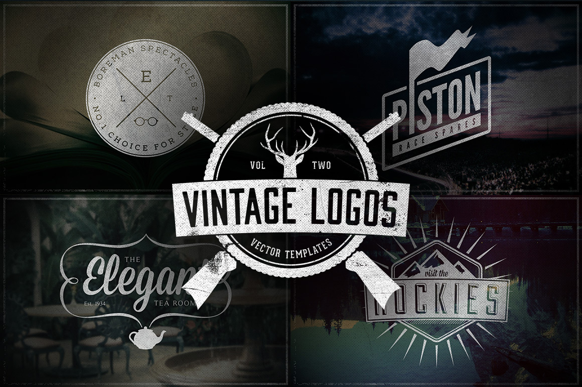vintage logos volume 2 logo templates on creative market. Black Bedroom Furniture Sets. Home Design Ideas