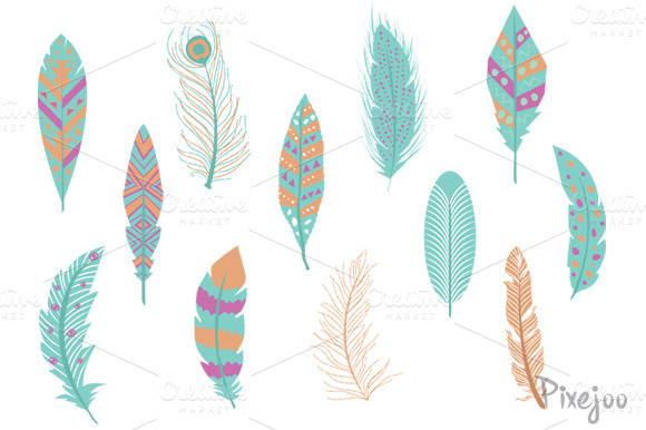Feather Clipart Set