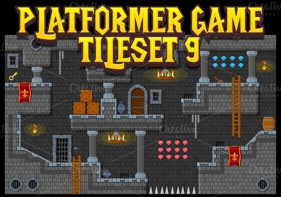 Platformer Game Tile Set 9