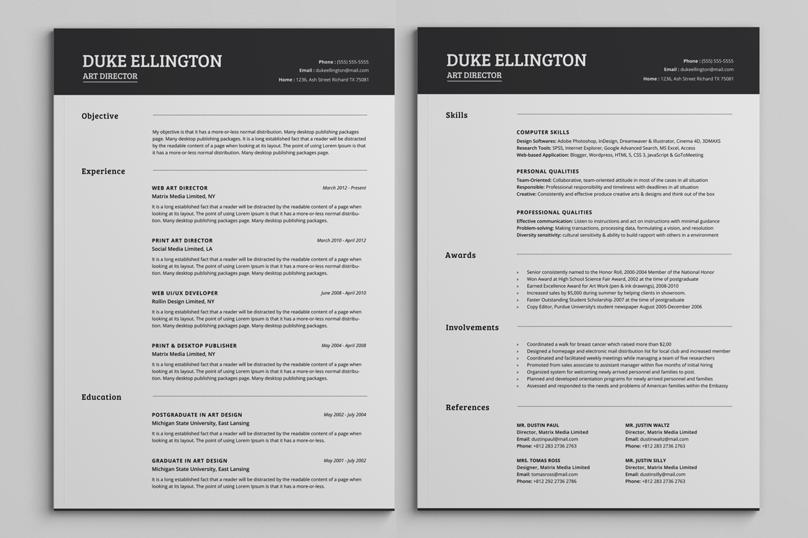 free resume templates pages