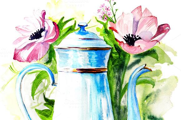Watercolor Vintage Hand Drawn Coffee
