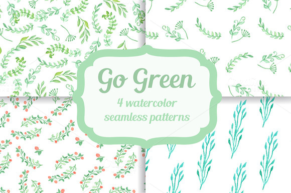 Green leaves. Watercolor seamless. - Patterns