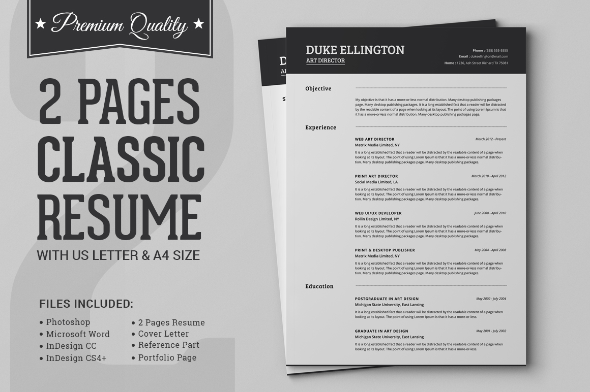 Two Pages Classic Resume CV Template Resume Templates on