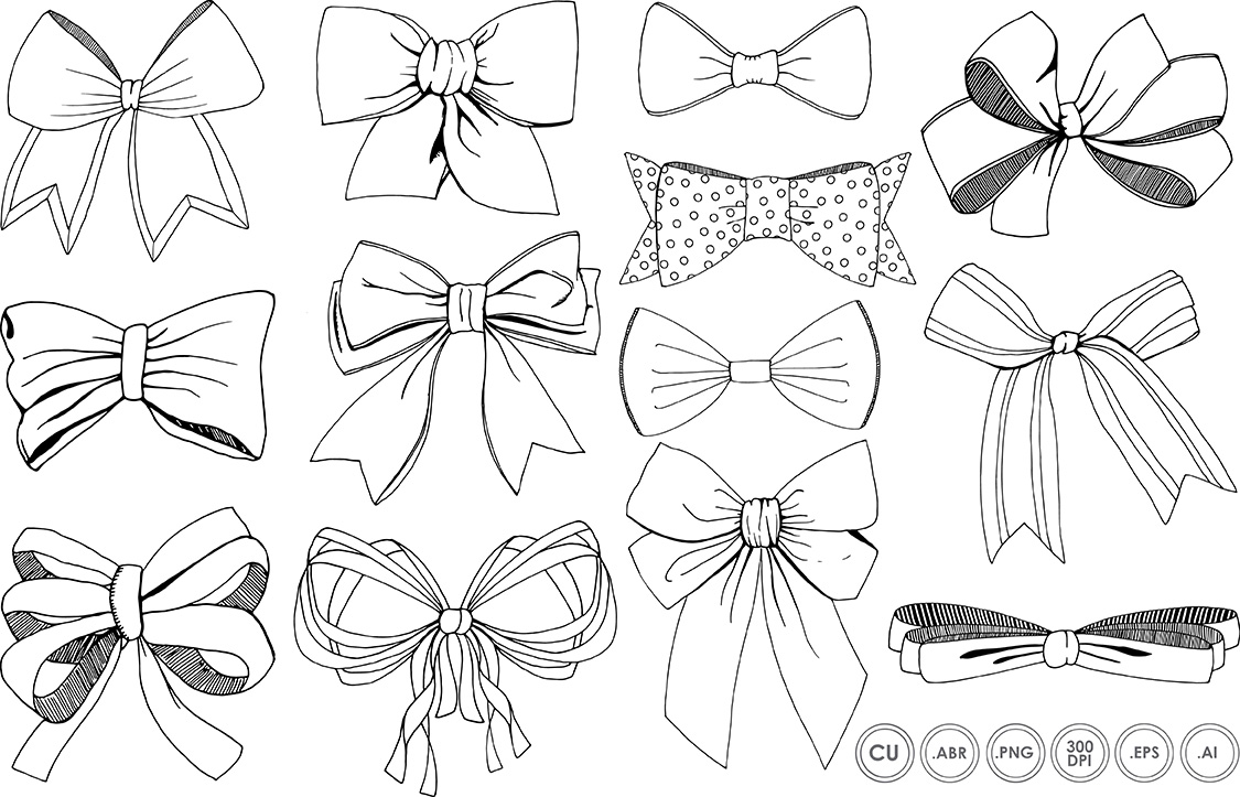 Line Art Ribbon : Bows ribbons line art silhouette illustrations on