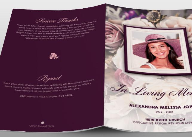purple floral funeral program brochure templates  creative market