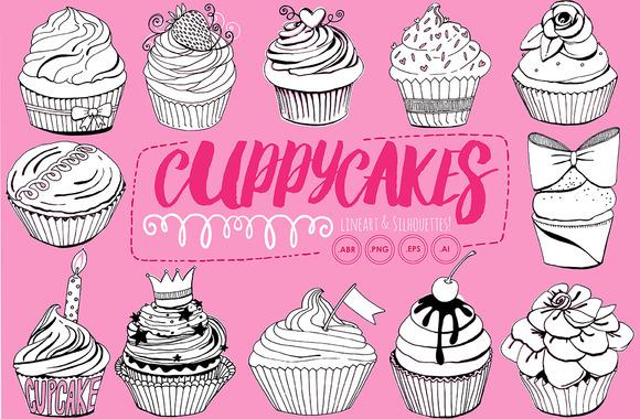 Birthday Cupcake Line Art Silhouette