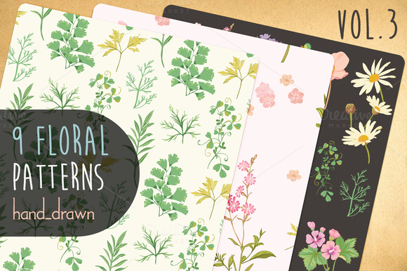 9 Floral Patterns Vol3