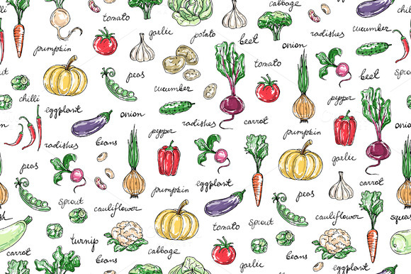 Pattern With Hand Drawn Vegetables
