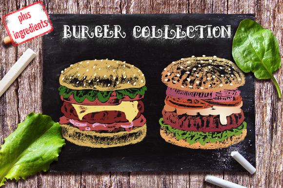 Vector Chalk Drawn Burger Collection