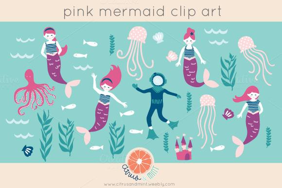Pink Mermaid Digital Clip Art
