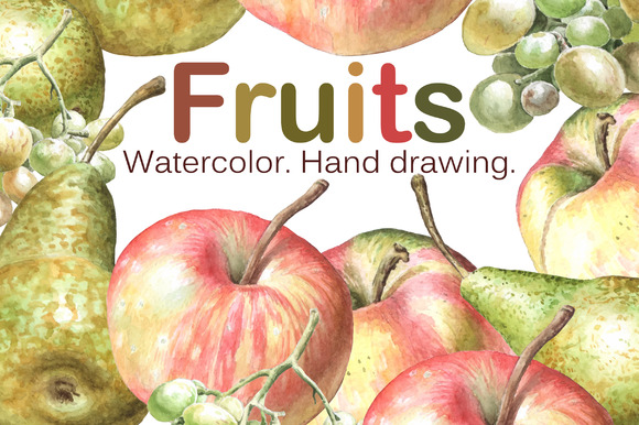 Watercolor fruits. Hand drawing. - Objects