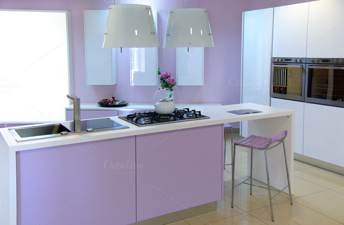 Modern pink kitchen ~ Food & Drink Photos on Creative Market