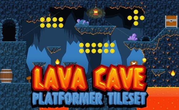 Lava Cave Platformer Tileset