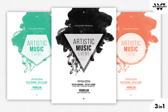 3in1 minimal abstract flyer template flyer templates on