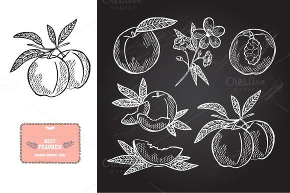 Hand Drawn Peaches