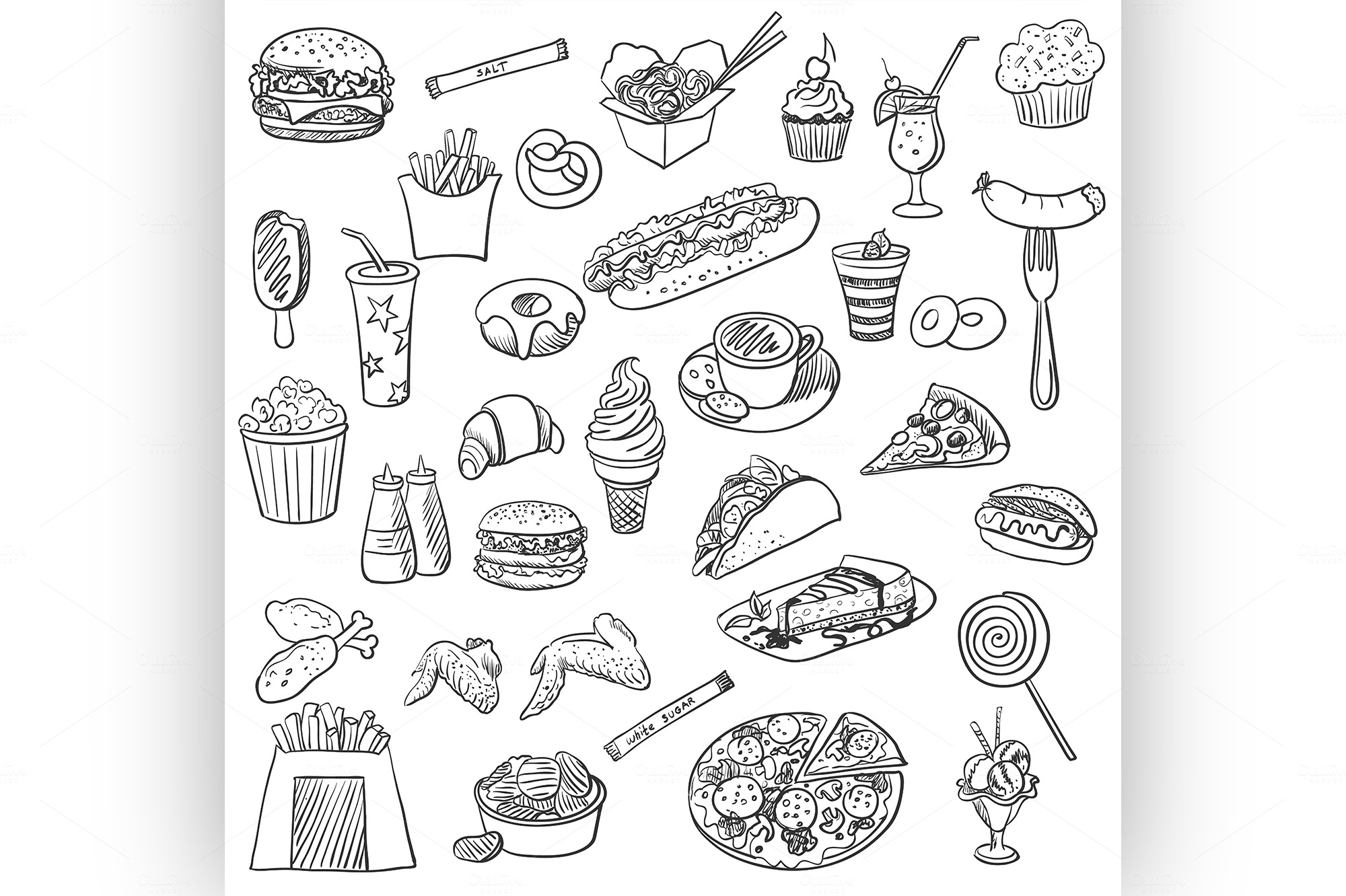 Doodle Icon Fast Food ~ Icons On Creative Market