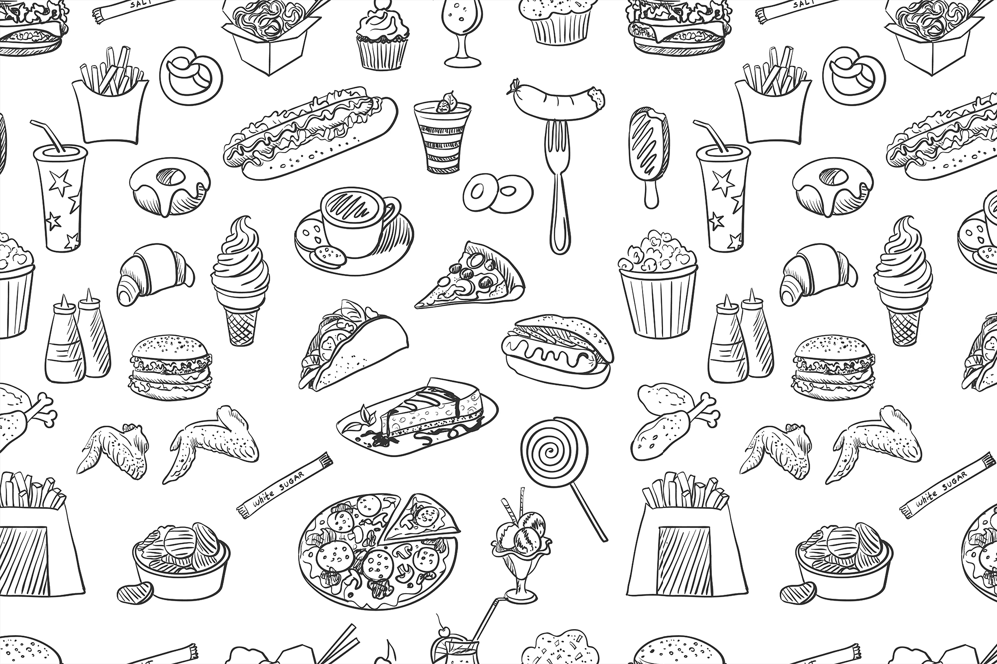 hand drawn fast food pattern patterns on creative market