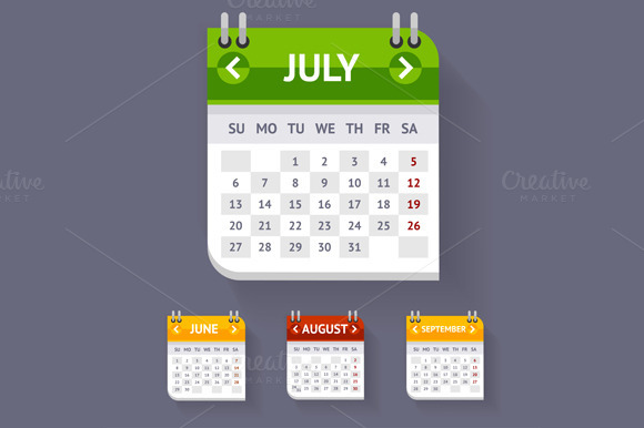 Vector Calendar Set Flat Design