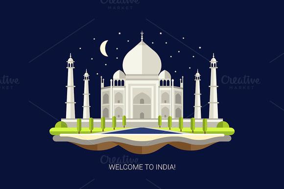 Taj Mahal Flat Design Illustration