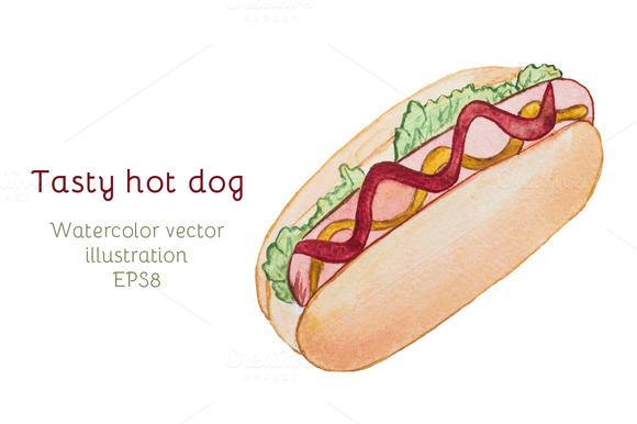 Hot Dog Watercolor