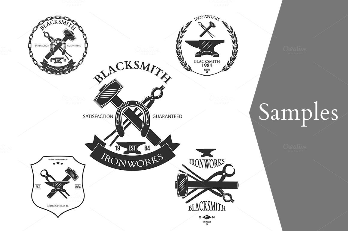 set of vintage blacksmith labels illustrations on